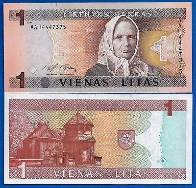 Lithuania P-53 1 Litas Year 1994 Uncirculated Banknote
