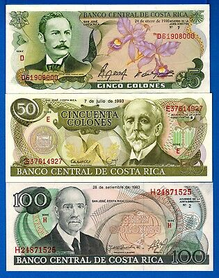 Costa Rica 5,10,100 ,Colones Uncirculated Banknotes Set # 3