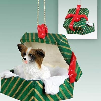 Papillon Brown White Dog Green Gift Box Holiday Christmas ORNAMENT