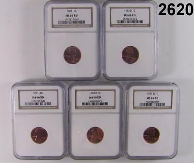 5 Coin Lot Different Ngc Certified Ms 66 Rd Lincoln Wheats Check Dates #2620