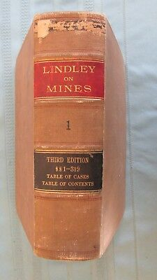 1914 American Mine & Mineral Lands Law Hard Cover Book-C. Lindley-Volume I-Mines