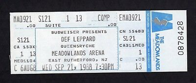 1988 Def Leppard Queensryche unused concert ticket Meadowlands NJ Hysteria