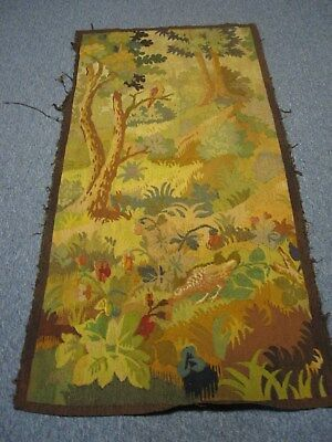 """ANTIQUE HAND WOVEN TAPESTRY w PARTRIDGES QUAILS IN FOREST IN TREE BY FLOWERS 66"""""""