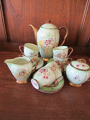 Stunning Carlton Ware1930's Deco 15 piece Coffee Set. Green, Floral, heavy Gilt