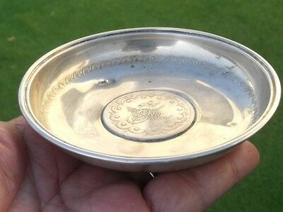 Antique original sterling silver Ottoman Islamic coin plate saucer ashtray
