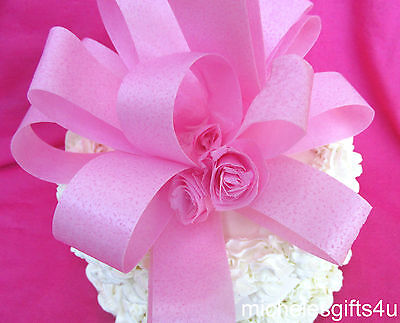 """Edible Pink Cake Edible Wafer Paper Bow Ribbon 6""""x6""""x4"""" with 3 Flowers"""