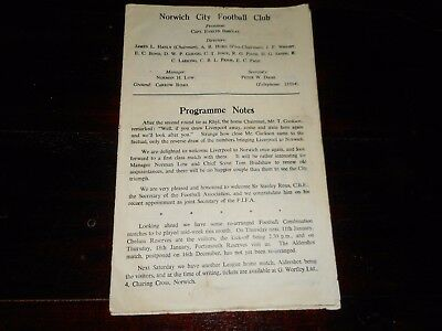 NORWICH CITY  v  LIVERPOOL  1950/1 F A CUP 3rd ROUND ~ JAN 6th  *****SCARCE*****