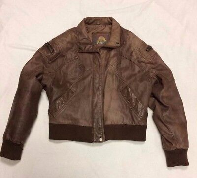 VTG 80s 90s Adventure Bound Cropped Bomber Aviator Leather Jacket Womens Small