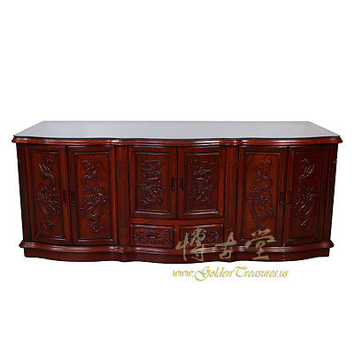 Vintage Chinese Carved Rosewood MOP inlay Entertainment Center, TV Stand 17LP06