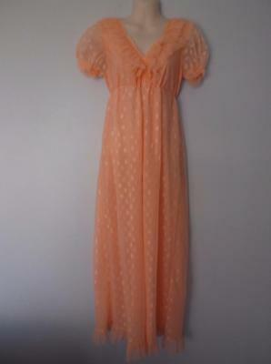 Vintage Nightgown Semi Sheer Double Nylon Chiffon Lace Sissy Lacy Lingerie Nos