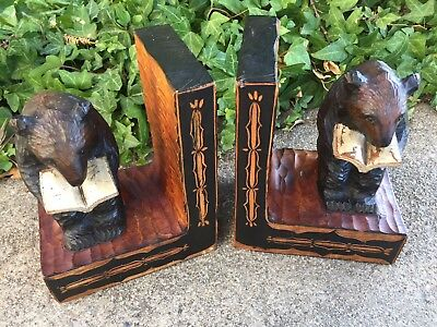 Vintage Pair of Hand Carved Wooden Bear Bookends, Bear Reading a Book
