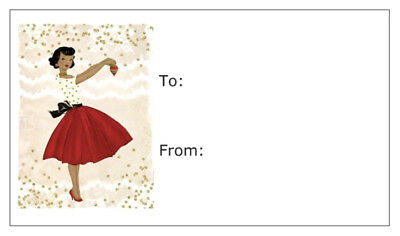 African American Holiday Lady in Red , Gift Tags Cards Black Santa Claus