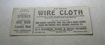 Large Ink Blotter – Wire Cloth C.I. Banker Wire & Iron Works Milwaukee
