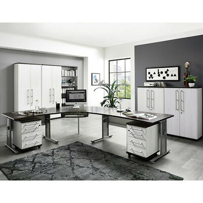 komplett b rom bel set matt wei eiche schreibtisch aktenschrank aktenregal b ro eur. Black Bedroom Furniture Sets. Home Design Ideas