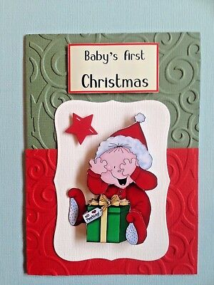 3D  Handmade Christmas Card - Baby's First Christmas - Baby With Present