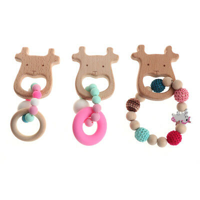 Baby Wooden Bracelets Teether Crochet Beads Silicone Teething Wood Rattles Toys