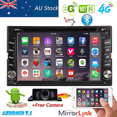 Android7.1 Car DVD Player GPS Stereo Head Unit BT 4G Wifi OBD AU Map+Free Camera