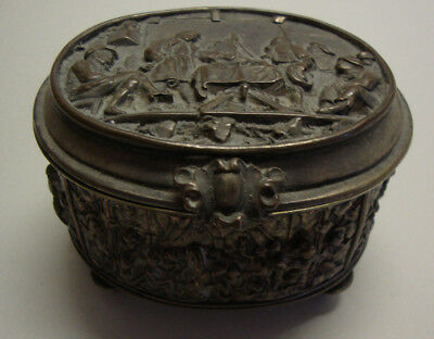 A late Victorian embossed silver plated oval trinket box