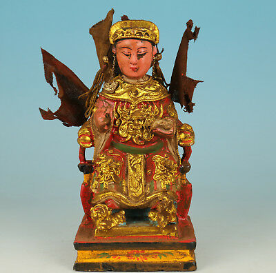 Chinese Old Wood Handmade Carved God Of Wealth Buddha Statue
