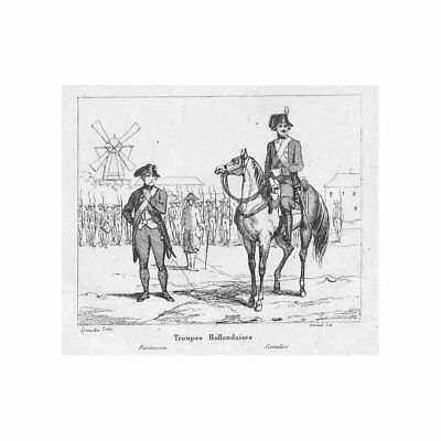 FRENCH REVOLUTIONARY WARS Dutch Troops - Antique Print 1836