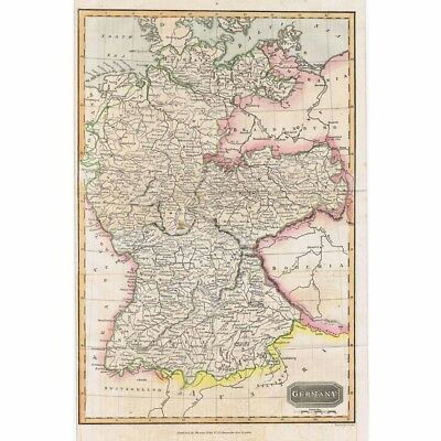 GERMANY Hand Coloured Antique Map 1826 by A Findlay