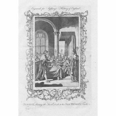 KING HENRY II Serving First Dish to His Son Henry's Table - Antique print 1775