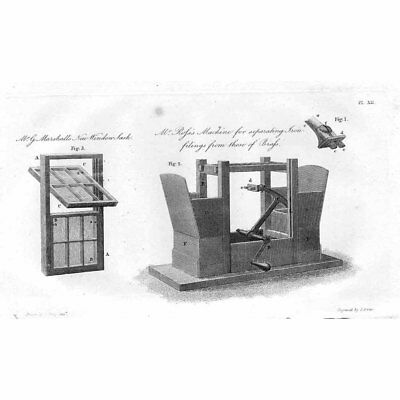 Ross's Machine for Separating Iron Filings from Brass; Inventor - Old Print 1811