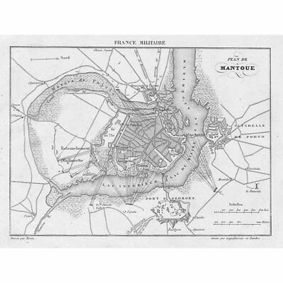 ITALY Plan of the City of MANTUA - Antique Map 1836