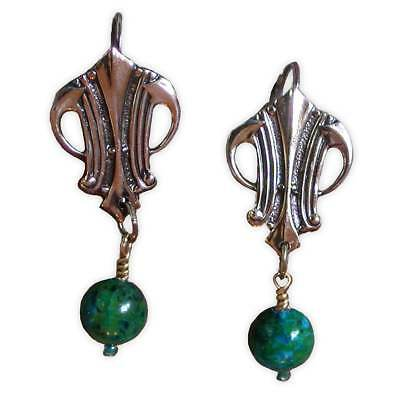 Handmade Polished Mirror Antique Brass Art Deco Earrings - Chrysocolla - by