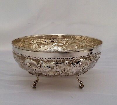 Fine Quality Antique Indian Repousse SOLID SILVER Footed Bowl C1900
