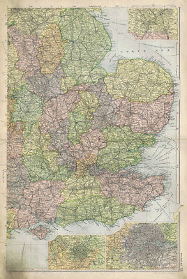 ENGLAND South East, Linen Backed Antique Map by GW Bacon c1900