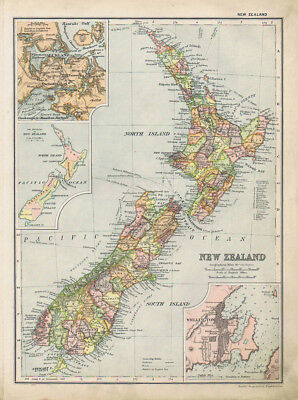 NEW ZEALAND Linen Backed Antique Map by GW Bacon c1900