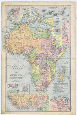 AFRICA Linen Backed Antique Map by GW Bacon c1900