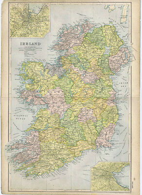 IRELAND Linen Backed Antique Map by GW Bacon c1900