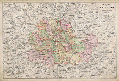 LONDON Environs Showing Boroughs Linen Backed Antique Map by GW Bacon c1900