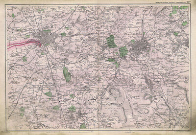 LANCASHIRE Manufacturing District Preston, Linen Backed Antique Map c1900