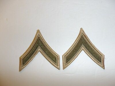 1027p WW2 US Army & Air Force Chevron PFC Private First Class Khaki pair R1A