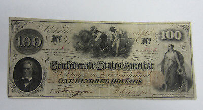 1862 Confederate States of America $100 Note  -- Free Shipping *