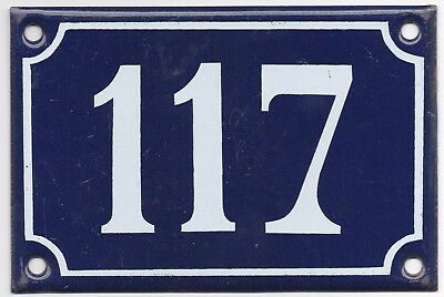 Old blue French house number 117 door gate wall plate plaque enamel steel sign