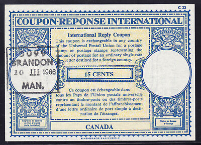 CANADA REPLY COUPON #14a 15c, 1966, USED