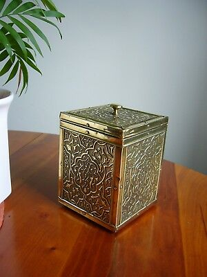 A Lovely Old Antique Embossed Floral Decorated Brass Tea Caddy