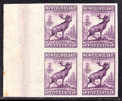 NEWFOUNDLAND #191b 5c DEEP VIOLET, 1932-37 IMPERF BLOCK/4, VF, UNUSED