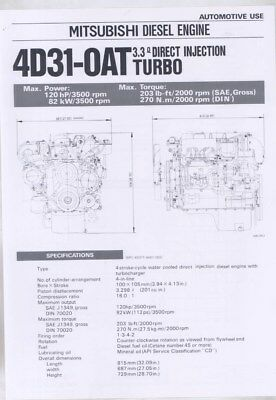1983 Mitsubishi 4D31OAT 3.3 Direct Injection Turbo Diesel Engine Brochure wy8620