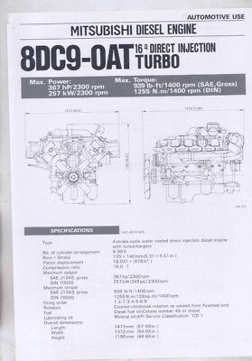 1983 Mitsubishi 8DC9-OAT 16 Direct Injection Turbo Diesel Engine Brochure wy8629