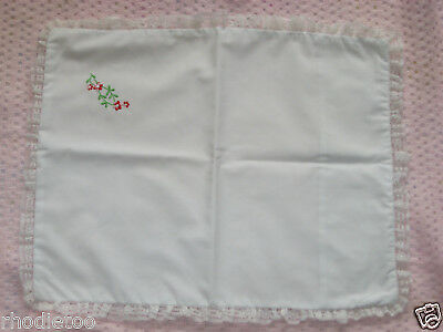 Vintage Baby Pillow Cover White Embroidered Floral Frilly Lace Case Slip