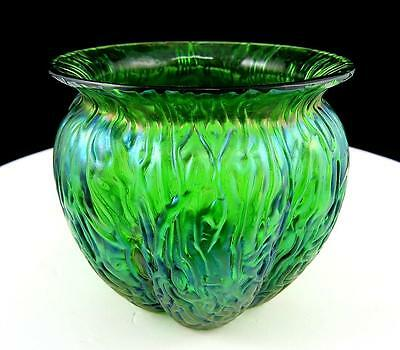 "Loetz Kralik Iridescent Green Art Glass Textured Flared Rim 3 1/8"" Melon Vase"