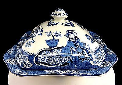 """Wood & Sons Woods Ware Tsing Blue White 9 1/4"""" Covered Vegetable Dish 1917-1930"""