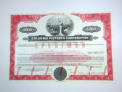 NY. Columbia Pictures Corp., 1968 $1000 Specimen Registered Bond Movie Co. ABN