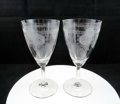 """Heisey Pied Piper 3350 Signed Set Of Two Crystal Etched 7"""" Water Goblets 1922-42"""
