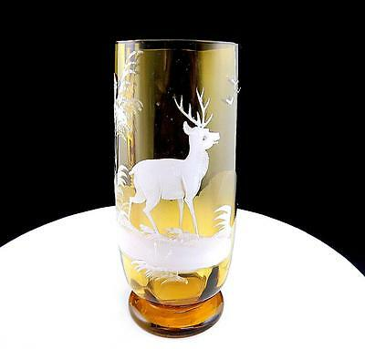 "Mary Gregory Style White Enamel Deer Stag Amber Panel Optic 5 7/8"" Footed Vase"